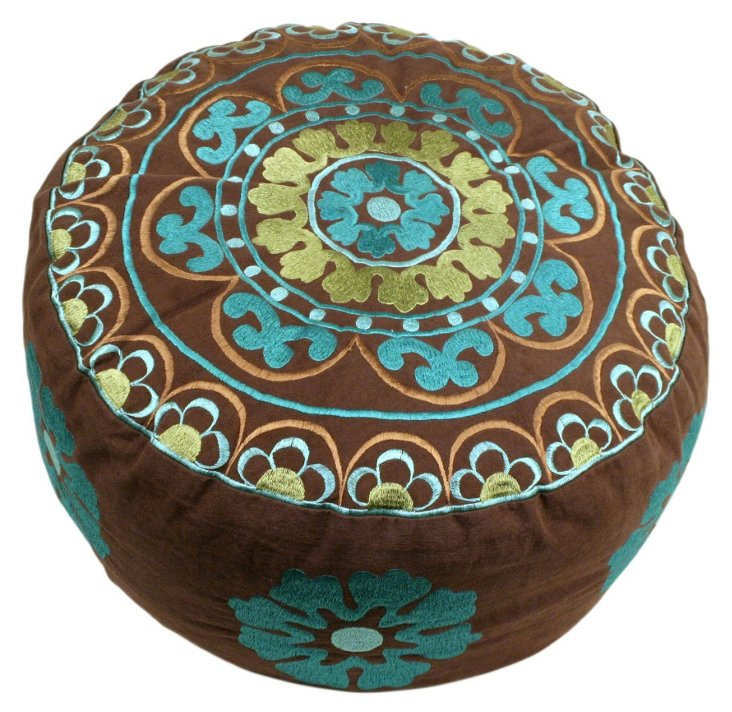 Ella Mini Embroidered Pouf, Brown/Blue