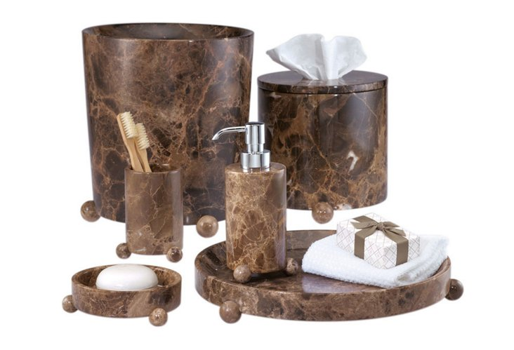 Boule 6 Piece Bath Set, Mocha/Chrome