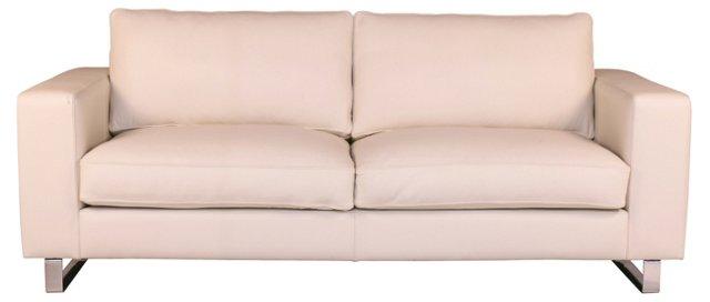 """Soho 89"""" Leather Sofa, Cream"""