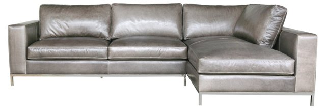 Mayfair Leather Sectional, Wolf Gray