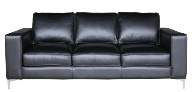 "Vogue 89"" Leather Sofa, Onyx"