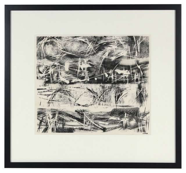 Jerry Opper Stone Lithograph, 1940-50s