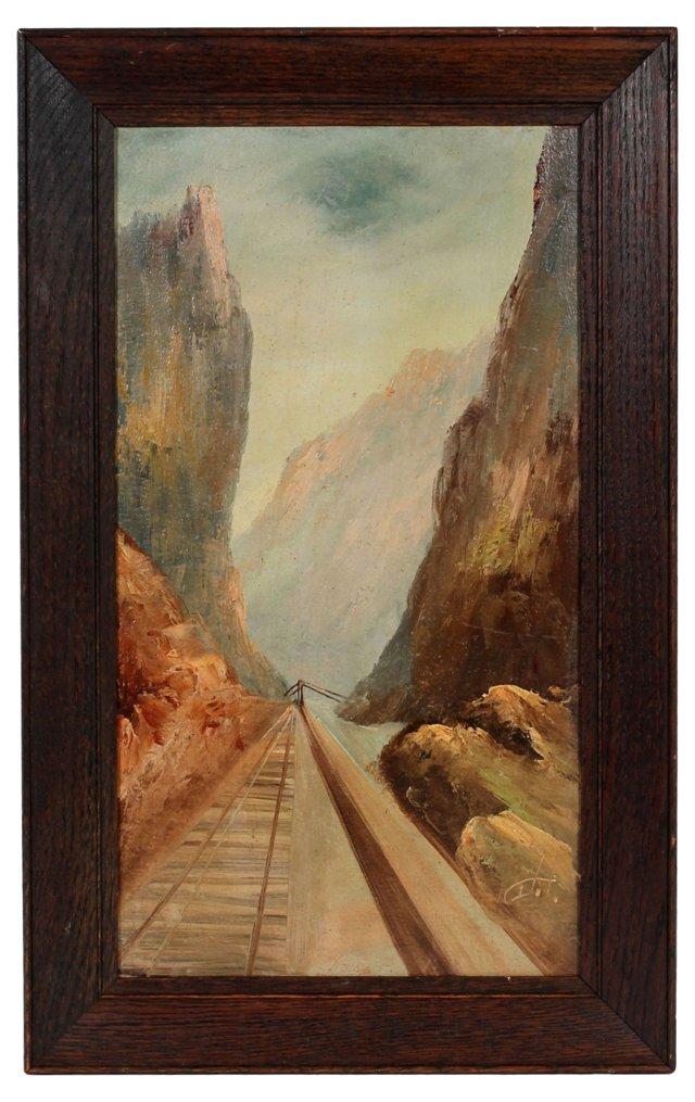 Midcentury Train Through Mountains Oil