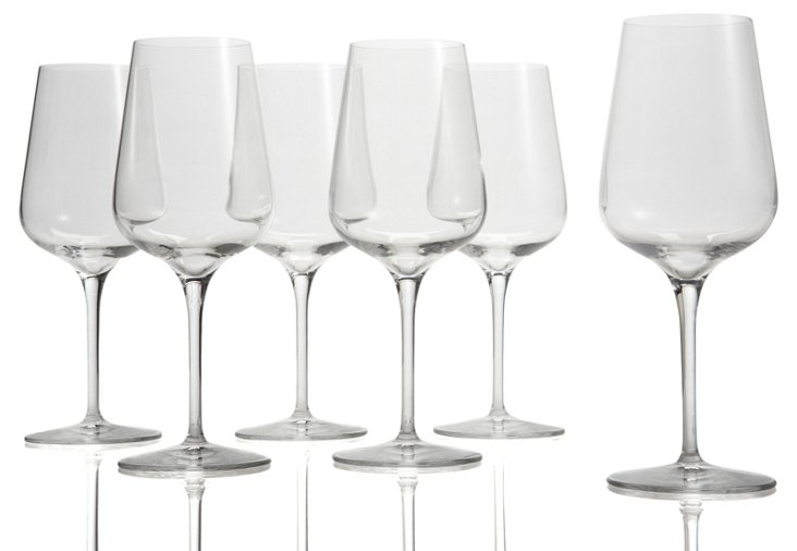 S/6 Large White-Wine Glasses
