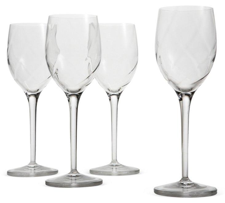 S/4 Wineglasses, Diamond Optic 9 Oz