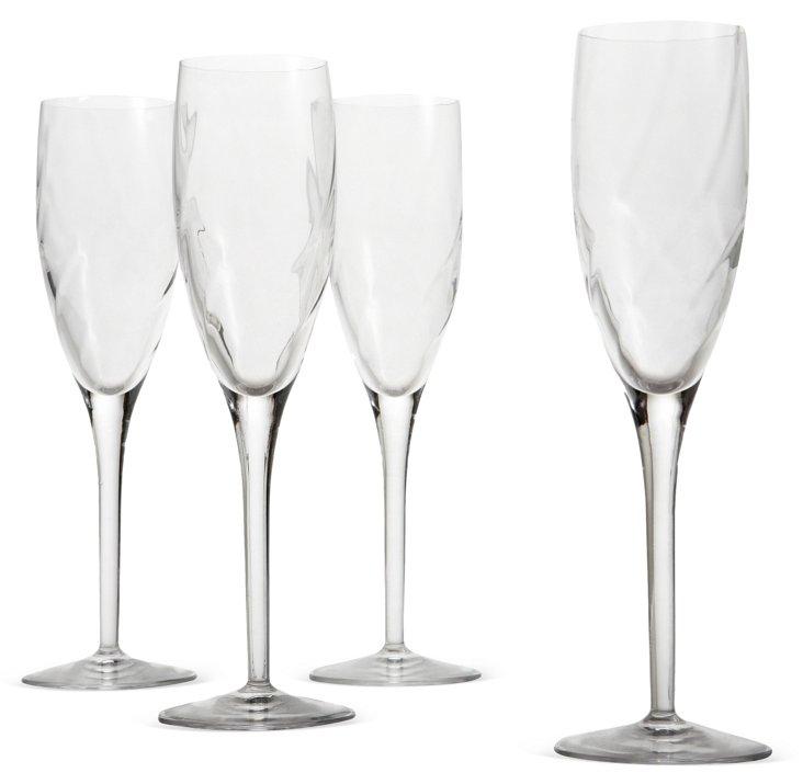 S/4 Diamond Optic Champagne Flutes