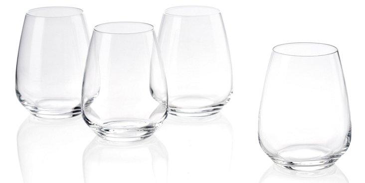 S/6 Stemless White-Wine Glasses