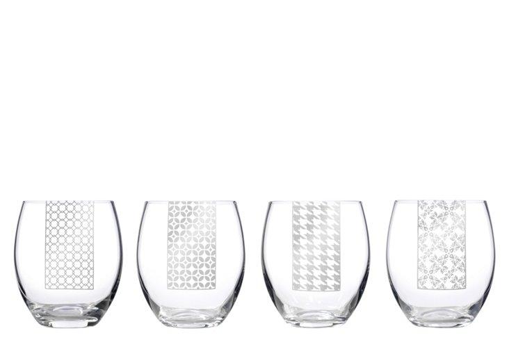 S/4 Asst. Patterned Stemless Wineglasses