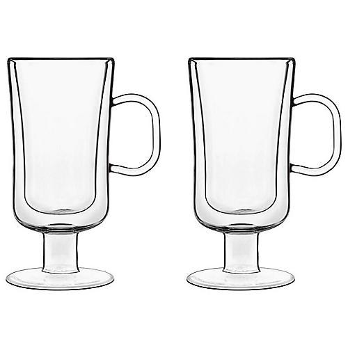 S/2 Fiori Coffee Mugs, Clear