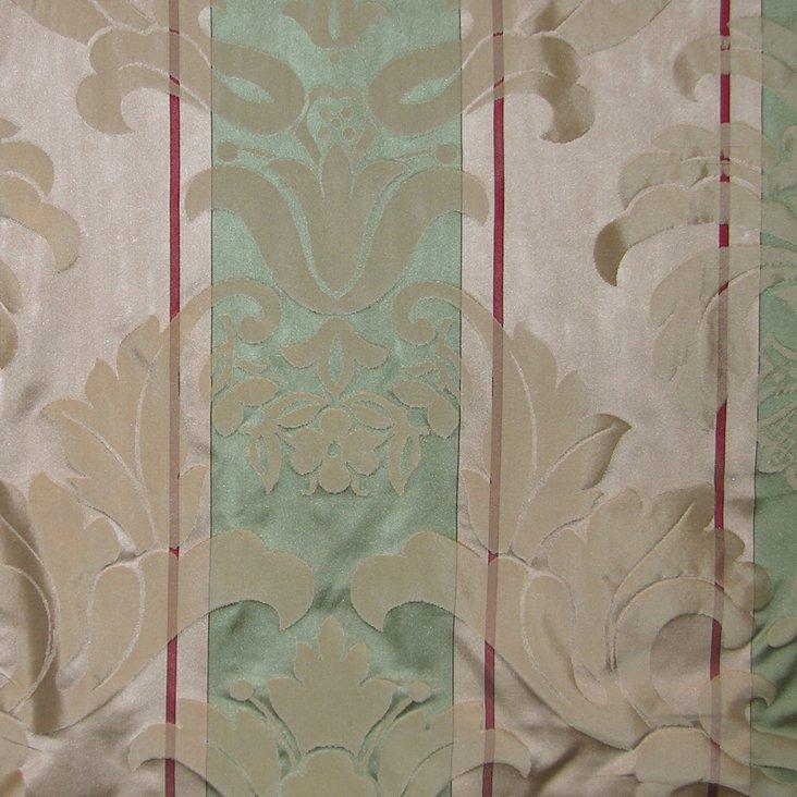Caribu Damask Silk Fabric, Green