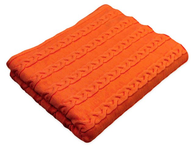 Valerie Cable-Knit Throw, Orange