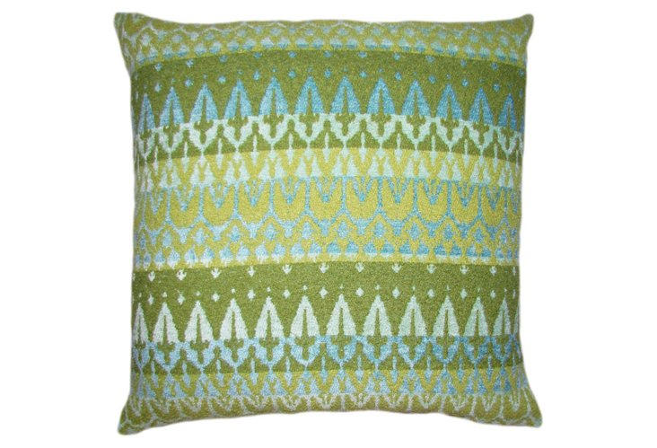 Ikat 20x20 Pillow, Blue/Green
