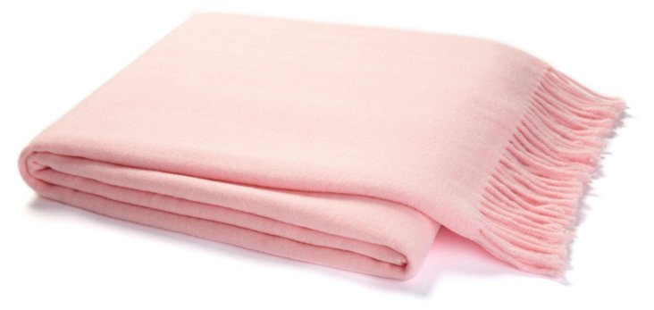 Solid Cotton-Blend Throw, Pink