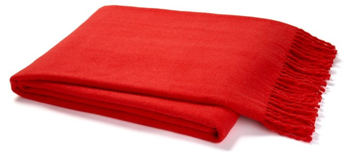 Solid Cotton-Blend Throw, Red