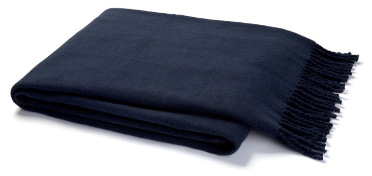 Solid Cotton-Blend Throw, Navy