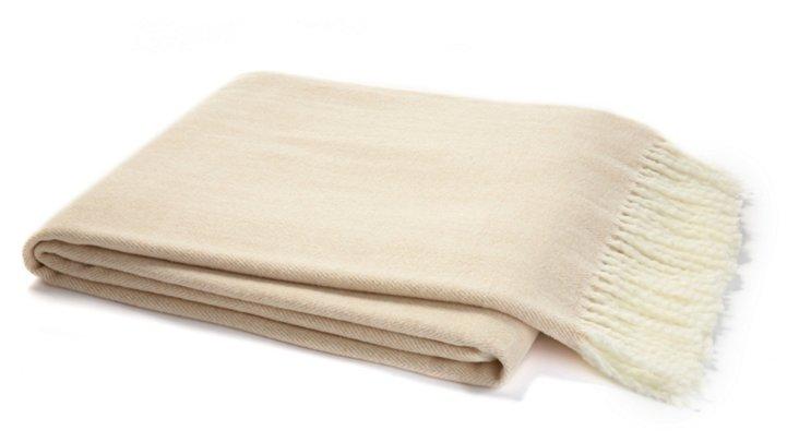Herringbone Cotton-Blended Throw, Cream