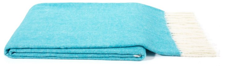 Herringbone Cotton-Blended Throw, Aqua