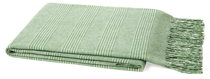 Plaid Cotton-Blend Throw, Green