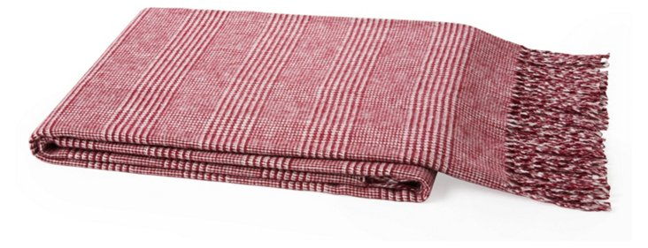 Plaid Cotton-Blend Throw, Merlot