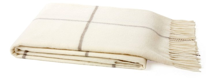 Windowpane Throw, Cream