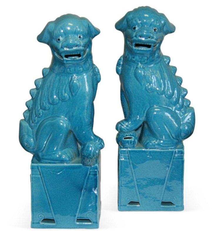 Blue Foo Dogs, Set of 2