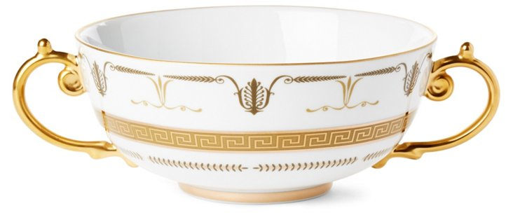 "6"" Porcelain Soup Bowl w/ 24kt Gold"