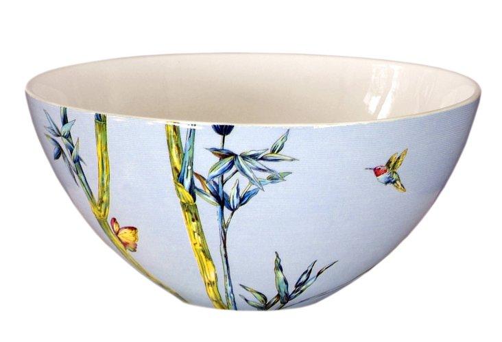 "9.5"" Porcelain Bamboo Bowl, Blue"