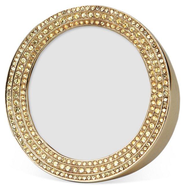 Swarovski Crystal Round Frame, 2x2, Gold