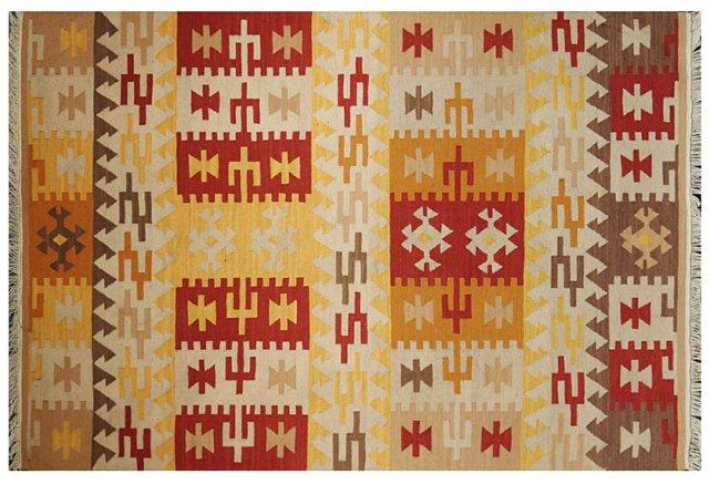 6'x9' Antalya Kilim Rug, Butter/Multi