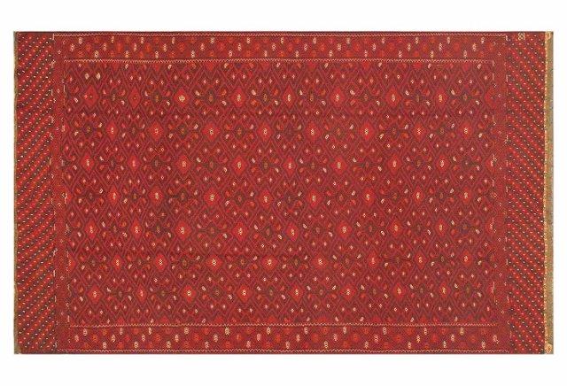 """6'6""""x10'6"""" Afghan Bahor Sumak Rug, Red"""