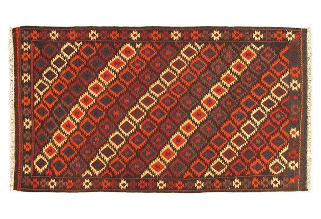 """5'6""""x9'7"""" Shirvan Kilim Rug, Red/Multi"""