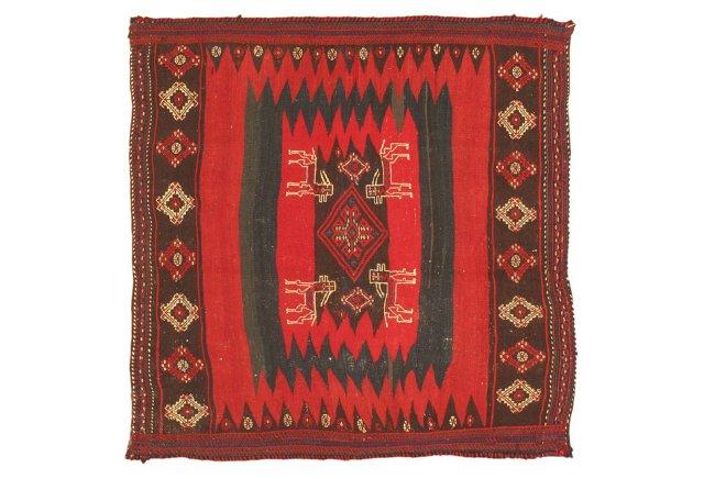 4'x4' Shirvan Kilim Rug, Navy/Red