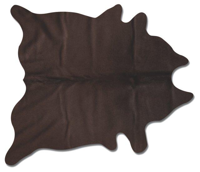 6'x7' Daisy Hide Rug, Chocolate