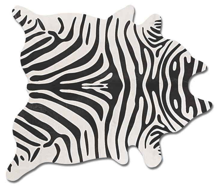 6'x7' Zebra Print Hide Rug, Black/Gray