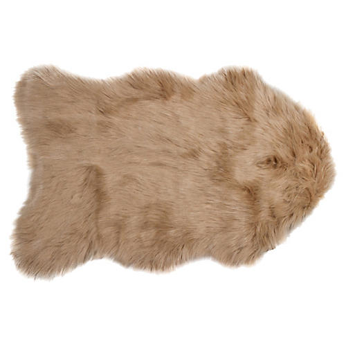 2'x3' Gordon Faux-Sheepskin Rug, Tan