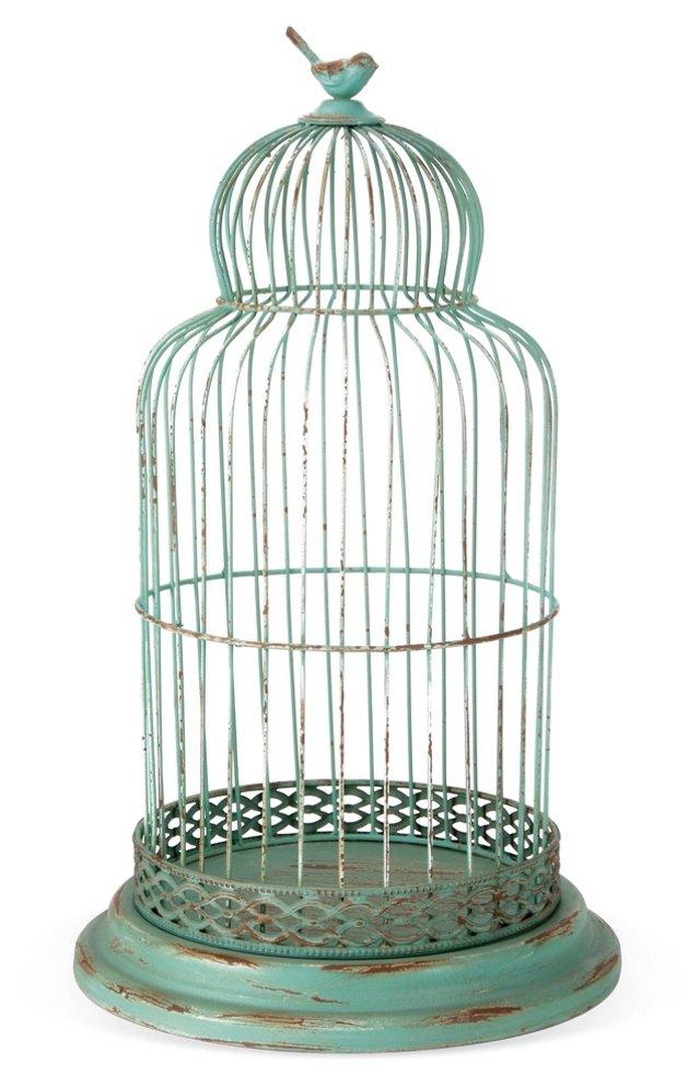 "23"" Iron Birdcage, Green"