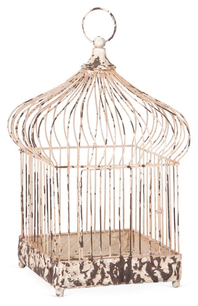 "15"" Distressed Market Birdcage, Cream"