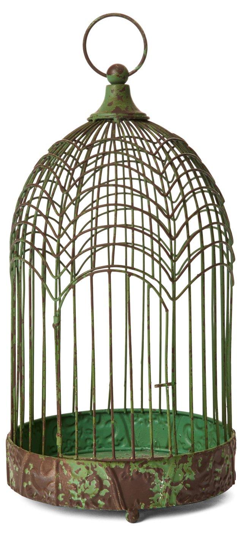 """15"""" Round Iron Birdcage, Green"""