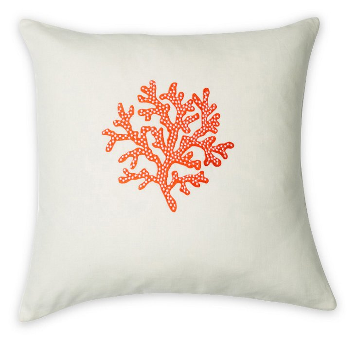 Coral 22x22 Embroidered Pillow, White