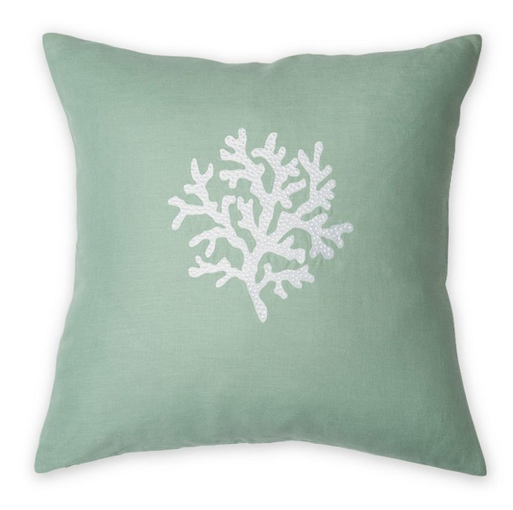 Coral 22x22 Embroidered Pillow, Aqua