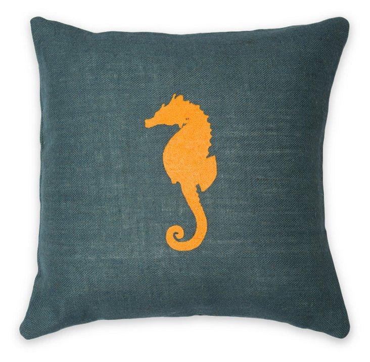 Seahorse 20x20 Burlap Pillow, Blue