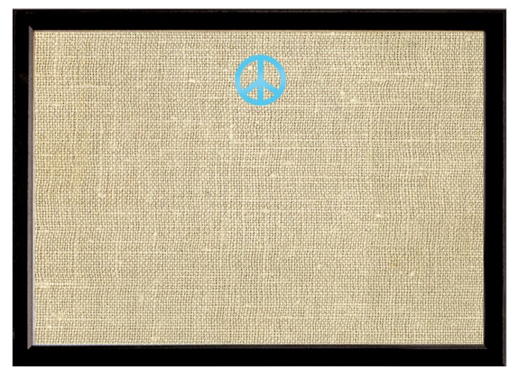 Burlap Bulletin Board, Aqua Peace Sign