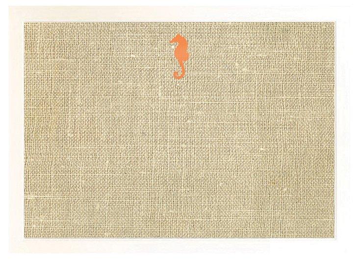 Burlap Bulletin Board, Orange Seahorse