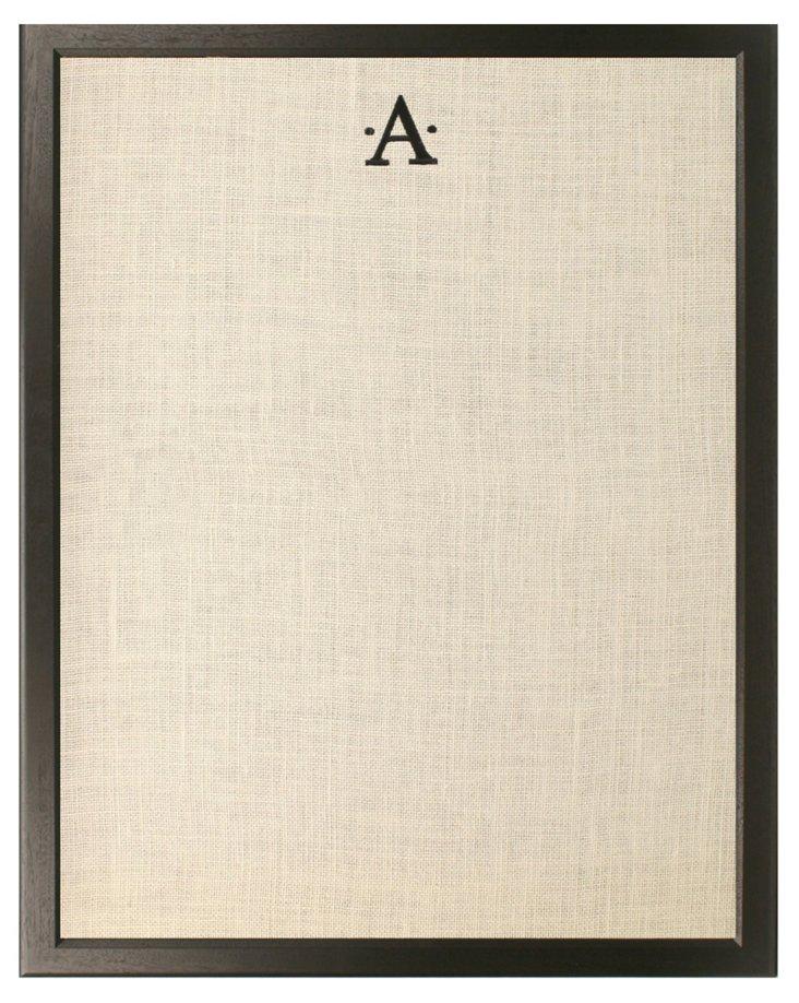 Monogramed Bulletin Board, Black