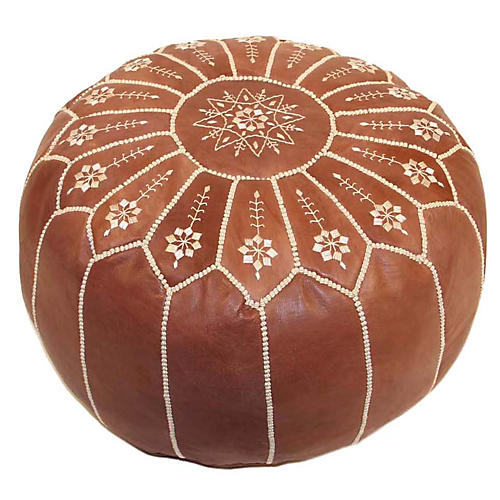 Starburst Leather Pouf, Chestnut