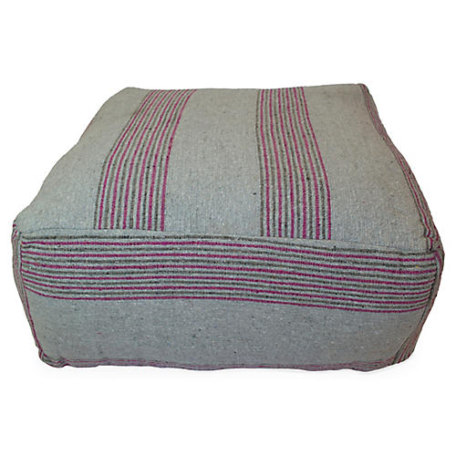 Moroccan Striped Pouf, Gray/Pink