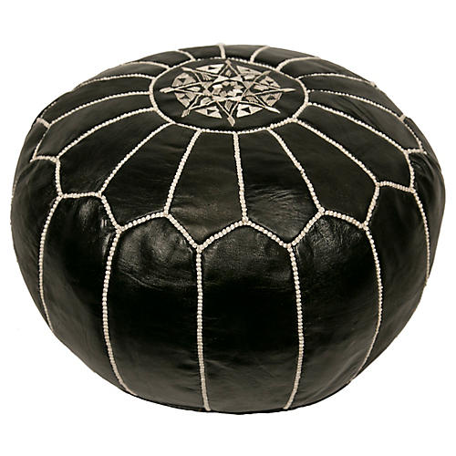 Embroidered Leather Pouf, Black