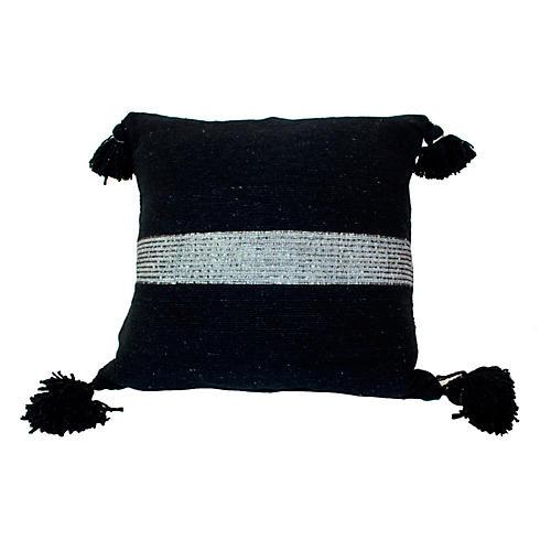 Moroccan 23x23 Pillow, Silver/Black