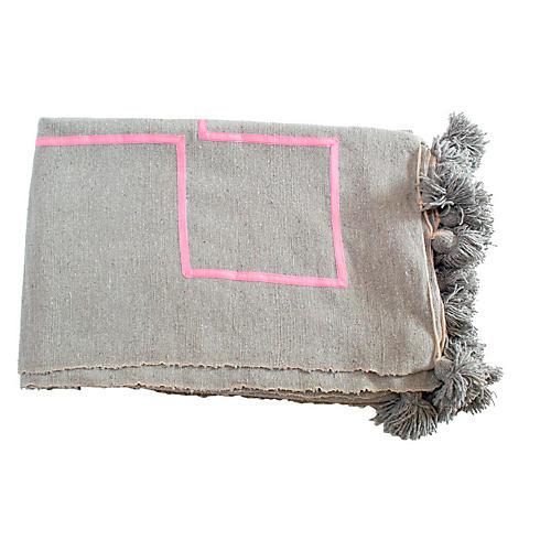 Moroccan Pom-Pom Blanket, Gray/Pink