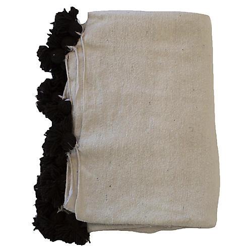Moroccan Pom-Pom Blanket, White